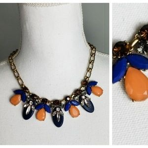 J Crew : Blue Orange Bronze Statement Necklace